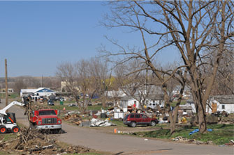 Aftermath of the April 9th, 2011 tornado outbreak in Mapleton, IA