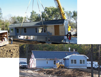 Crane setting home on the foundation