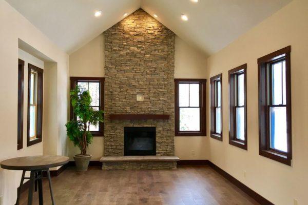 stone fireplace windows